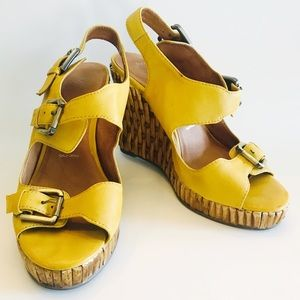 JEFFREY CAMPBELL Mustard Bamboo Weave Wedge Sandal